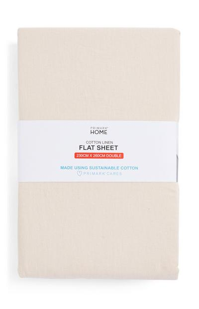 Cream Cotton Double Flat Sheet