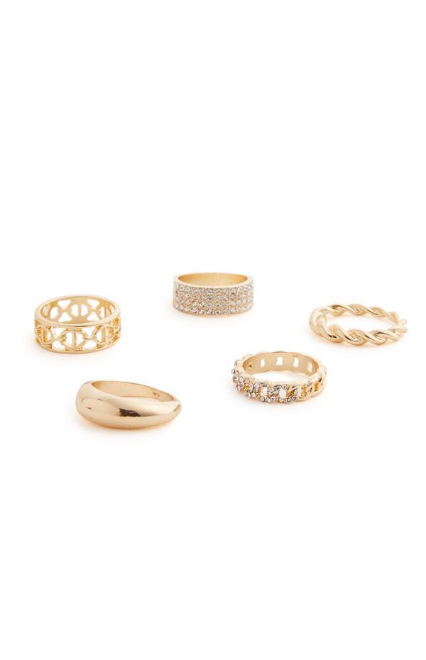 Goudkleurige grove ringen met stras, set van 5