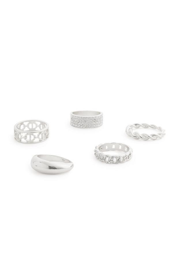 Breite silberfarbene Ringe mit Strasssteinen, 5er-Pack
