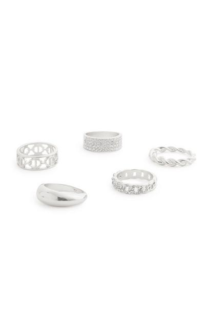 Silvertone Chunky Diamante Rings 5 Pack