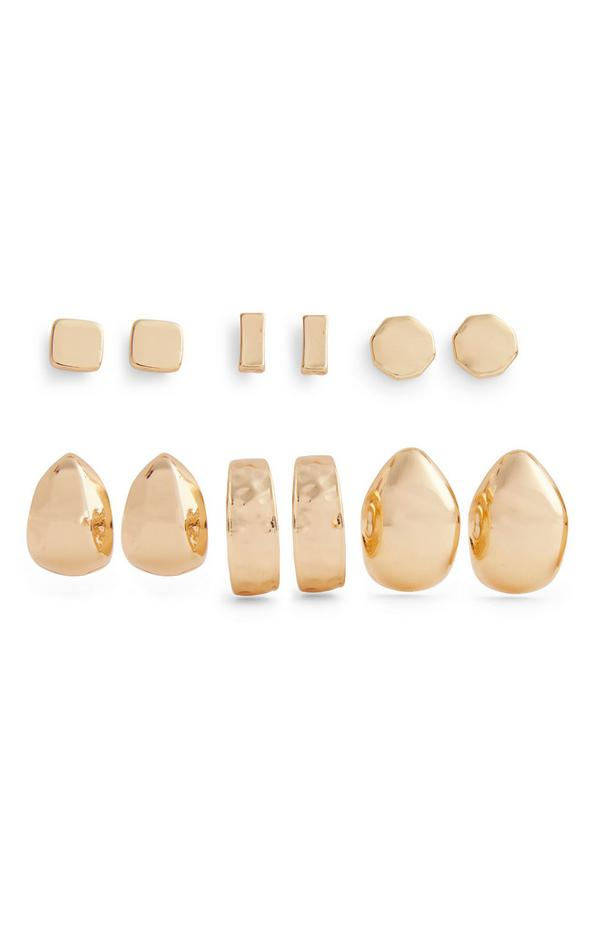 Pack 6 pares brincos pequenos grossos dourado