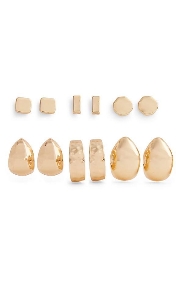 Debeli klasični in manšetni zlati uhani, 6 parov