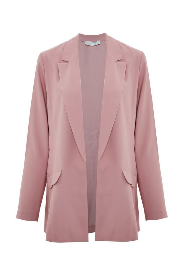 Blush Pink Relaxed Fit Open Blazer Jacket