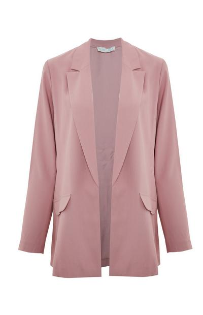 Blush Pink Relaxed Fit Open Blazer