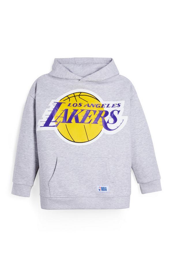 Camisola capuz NBA LA Lakers rapaz cinzento