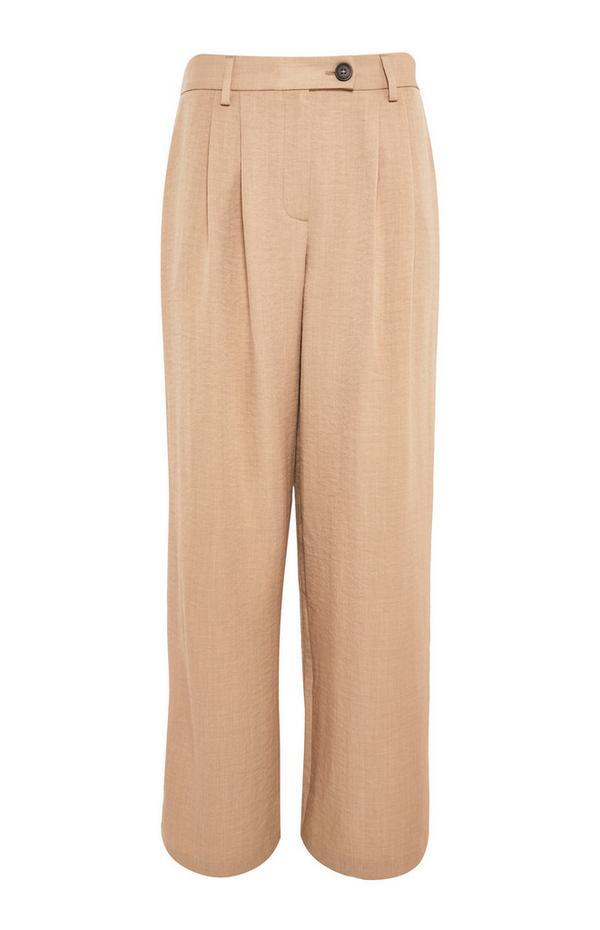 Pantaloni utility color cammello pieghettati