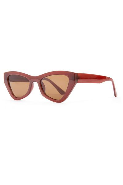 Red Chunky Angular Cat Eye Sunglasses