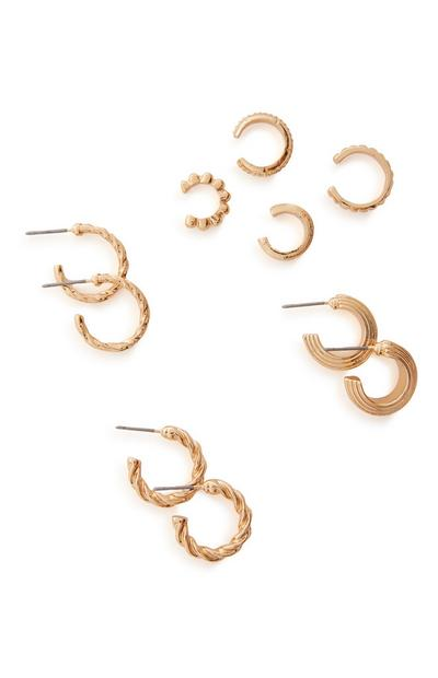 7-Pack Goldtone Cuff And Huggie Earrings