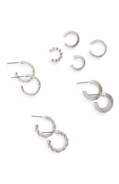 7-Pack Rhinestone Cuff And Huggie Earrings