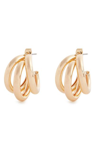 Goldtone Chunky Triple Midi Hoop Earrings
