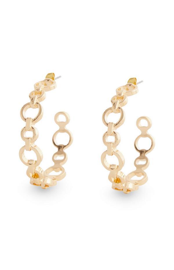 Goldtone Circle Chain Link Hoop Earrings