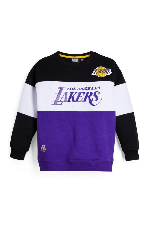 Older Boy Purple NBA LA Lakers Crew Neck Sweatshirt