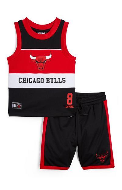 Conjunto top s/ manga/calções NBA Chicago Bulls menino