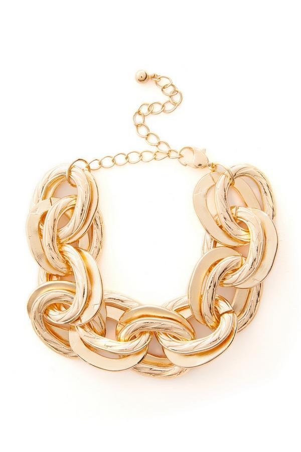 Gros bracelet doré en chaîne à maillons épais