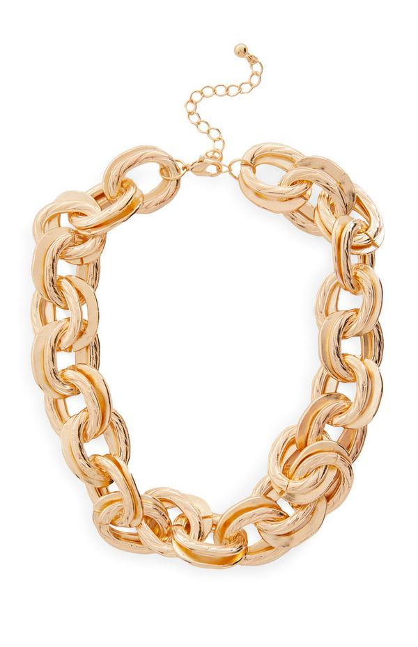 Large Goldtone Link Chunky Chain Necklace