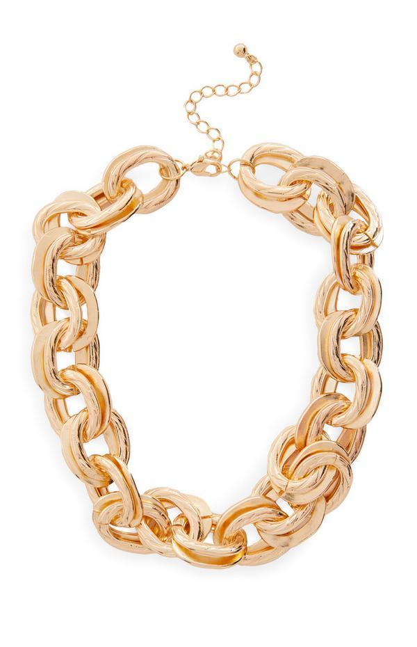 Collar grande de cadena con eslabones dorados gruesos grandes