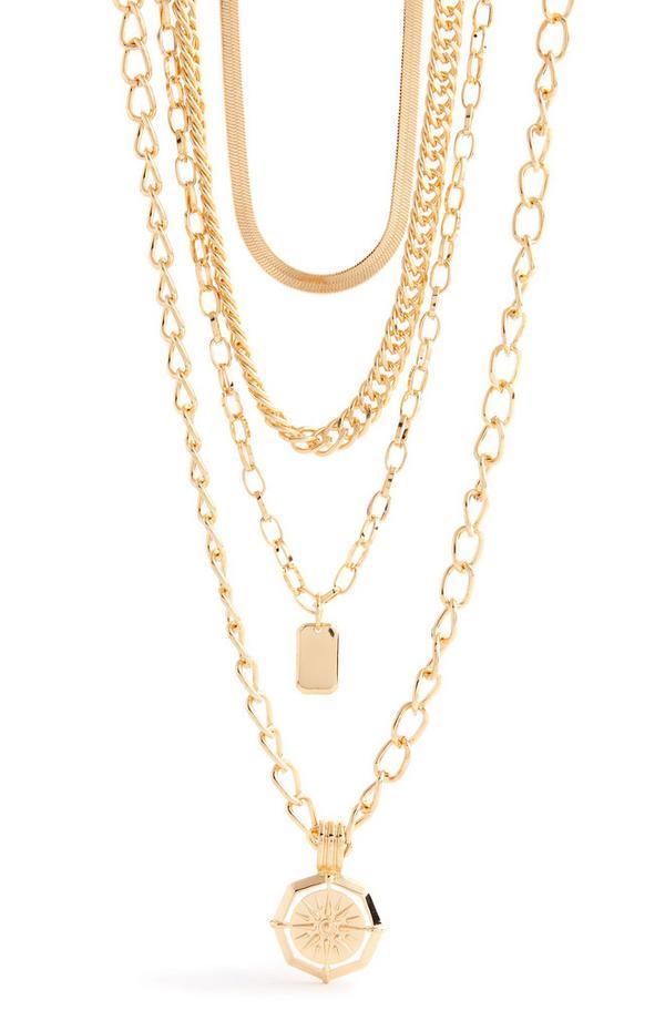 Mehrreihige goldfarbene Halskette