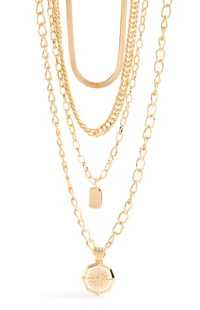 Goldtone Multi Row Mixed Chain Necklace