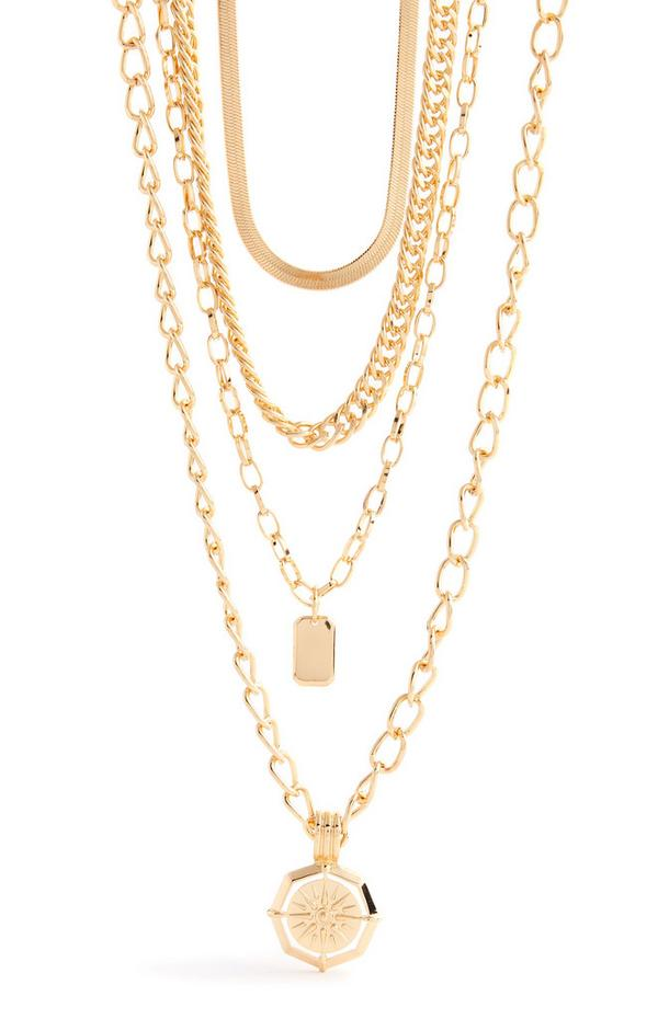 Goldtone Multi Row Mix Chain Necklace