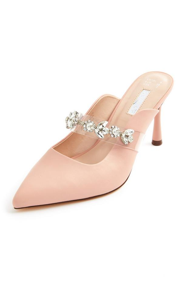 Light Pink Jewelled Strap Pointed Toe Occasion Mules
