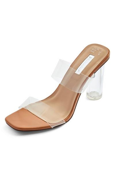 Beige Clear Perspex Double Strap Mules