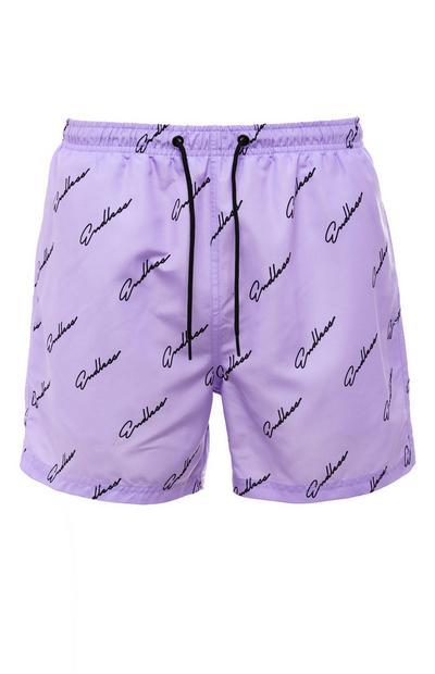 Purple Endless Script Tie Waist Shorts