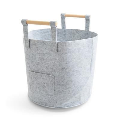 Grey Medium Felt Wooden Handle Basket