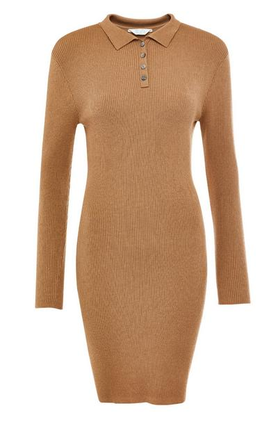 Tan Polo Neck Dress