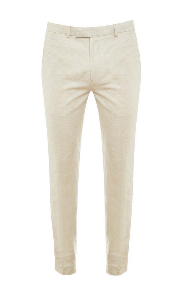 Ecrufarbene Premium-Hose aus Baumwolle und Leinen