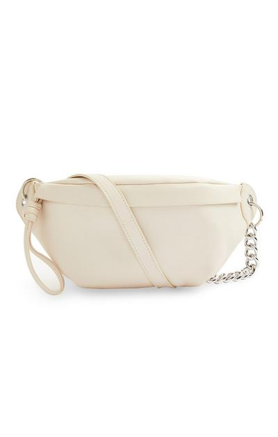 Cream Faux PU Leather Chain Bumbag