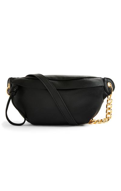 Black Faux PU Leather Chain Bumbag