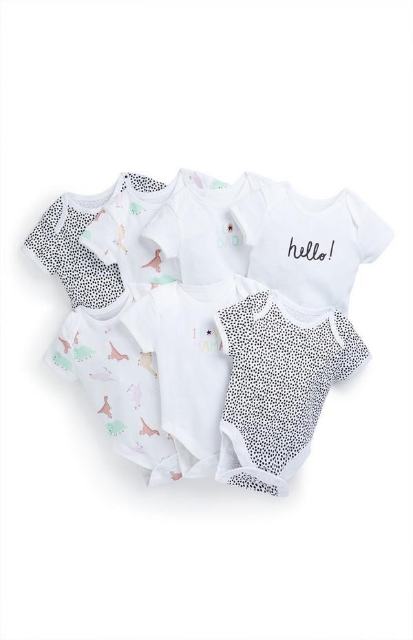 Baby Pastel Play Print Dinosaur Bodysuits 7 Pack