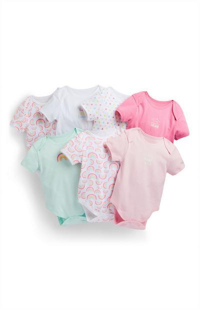 Lot de 7 bodys pastel et à imprimé arc-en-ciel bébé fille