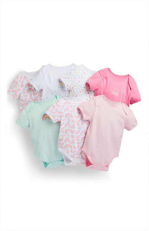Pastelkleurige rompertjes met regenboogprint voor meisjes, set van 7