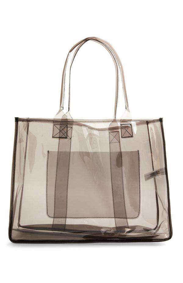 Large Black Clear Shopper Bag