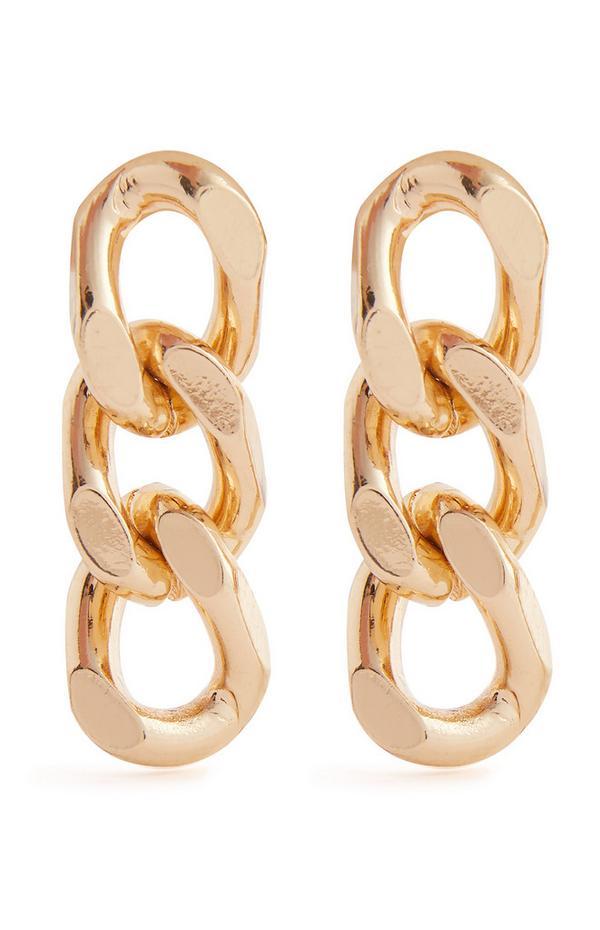 Goldtone Curb Chain Link Drop Earrings