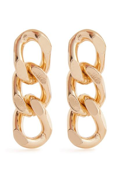 Goldtone Flat Chain Link Drop Earrings