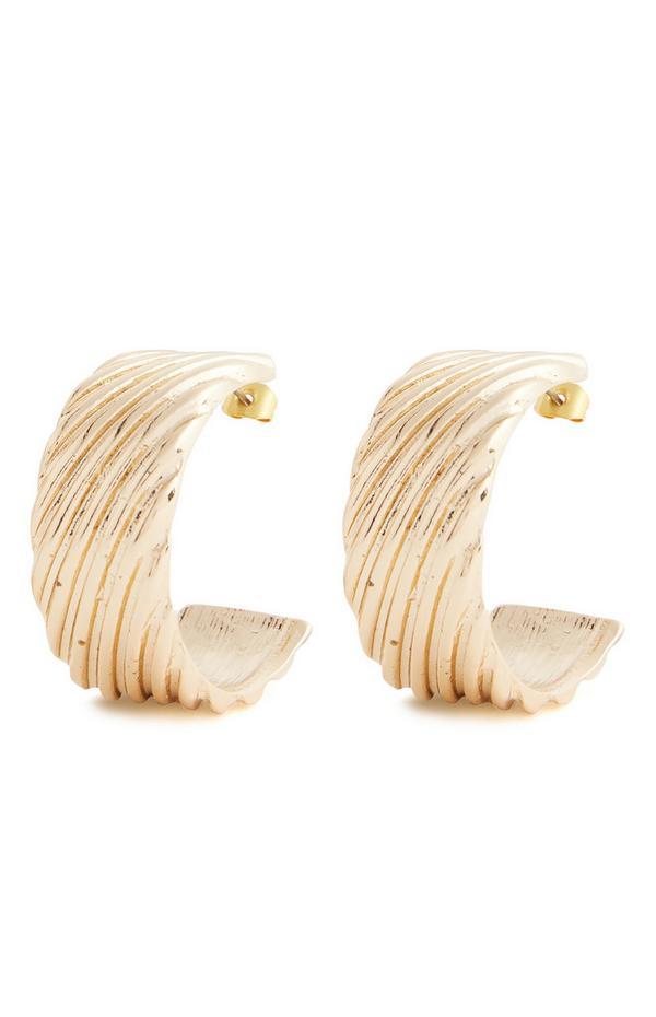 Srednje veliki debeli obročasti zlati uhani