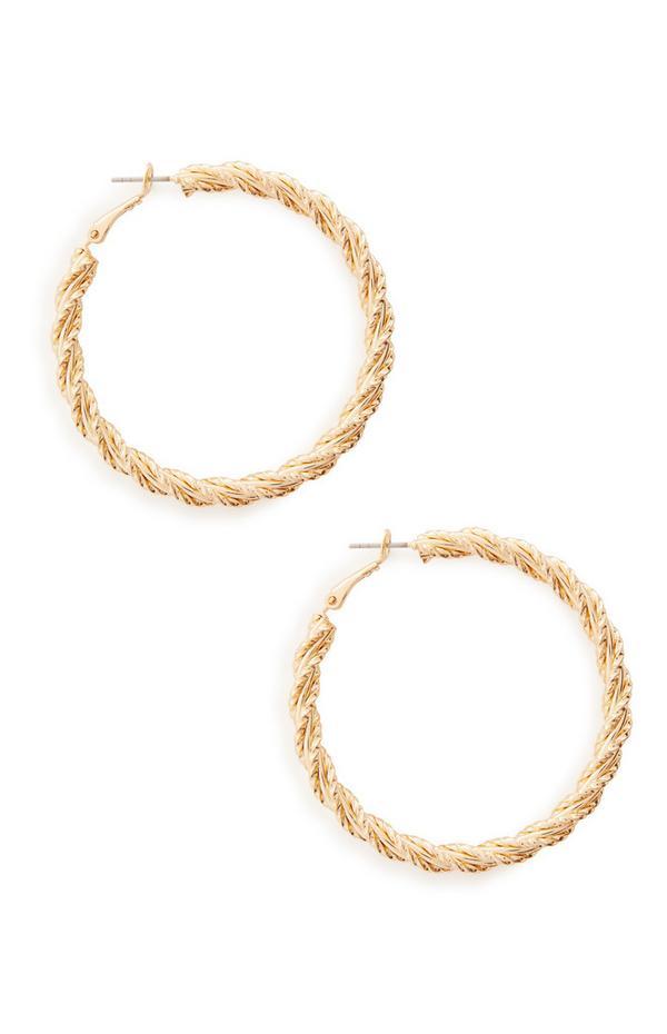 Goldtone Large Twist Chunky Hoop Earrings