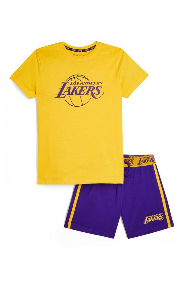 Conjunto de camiseta y pantalón corto de Los Angeles Lakers de la NBA para niño mayor