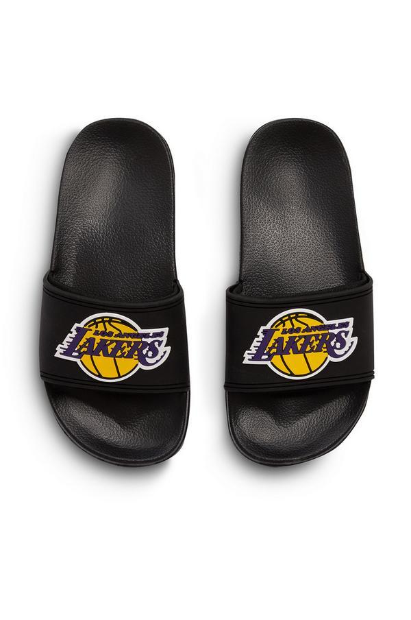 Older Boy Black NBA LA Lakers Slides