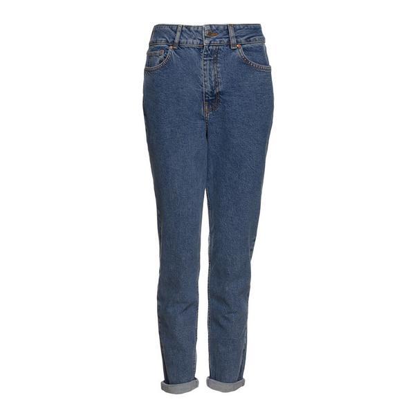 Blaue Mom-Jeans mit Stretch