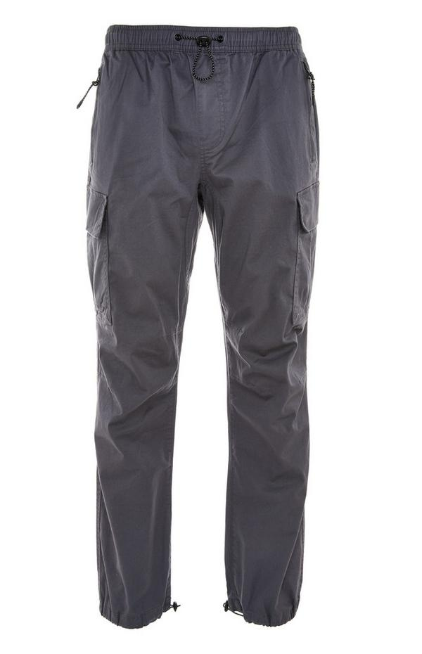 Grey Lightweight Cuff Cargo Trousers