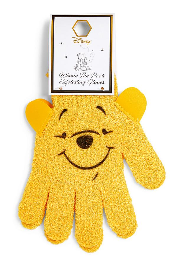 Yellow Winnie The Pooh Exfoliating Gloves