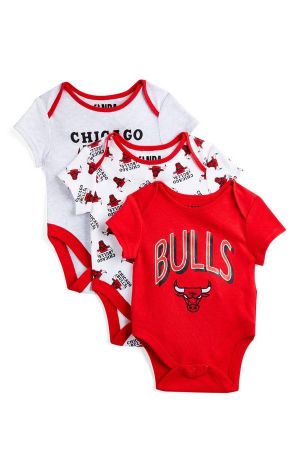 Pack 3 bodies NBA Chicago Bulls recém-nascido