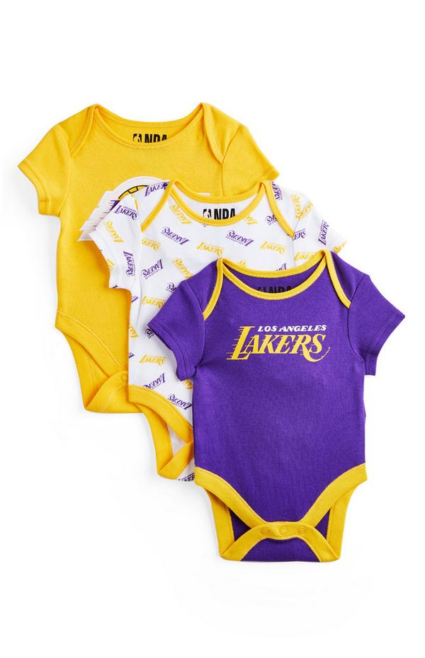 Pack 3 bodies NBA LA Lakers recém-nascido