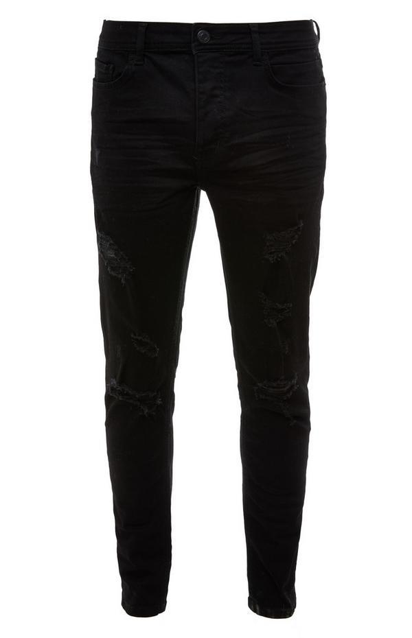 Jeans skinny neri con strappi
