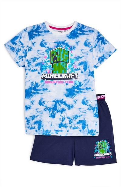 "Marineblauer kurzer ""Minecraft"" Pyjama in Batikoptik (Teeny Boys)"