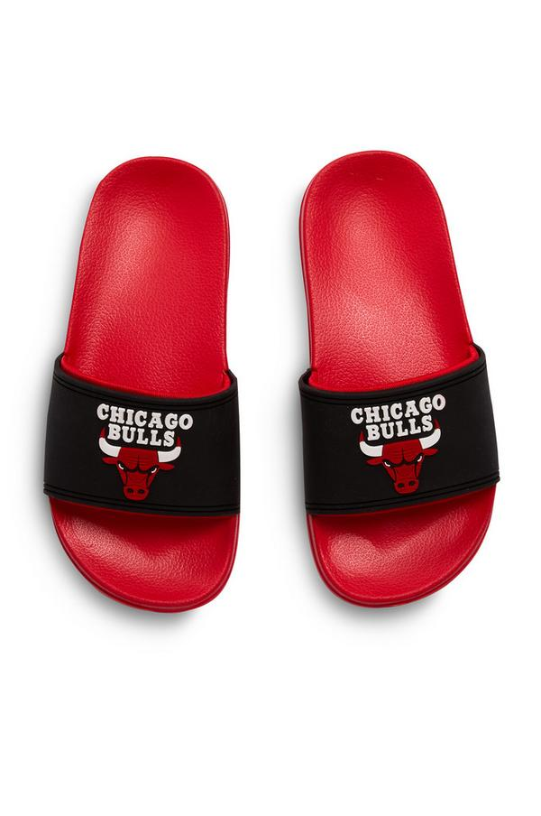 Older Boy Black And Red NBA Chicago Bull Sliders