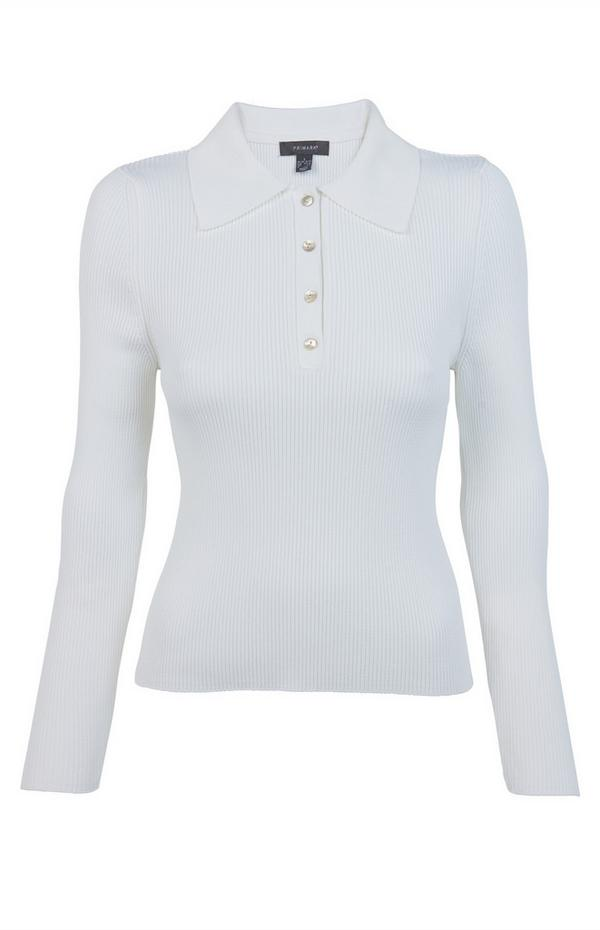Pull blanc compact à col polo